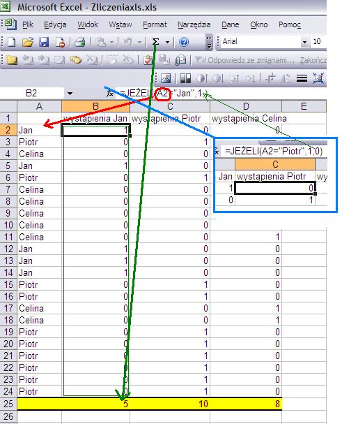 sposób zliczenia wyrazów w Excelu
