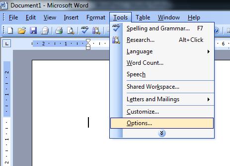 menu Narzędzia opcje w Word