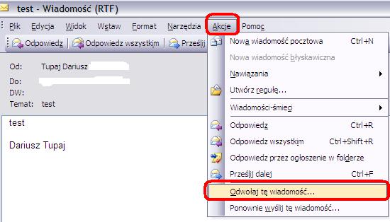 Odwołanie wiadomości w MS Outlook