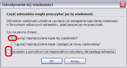 Opcje odwołania wiadomości w MS Outlook