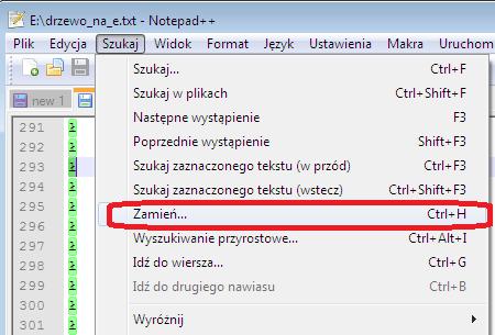 zamiana znaków w notepad++
