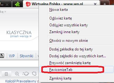Firefox dodatek Faviconize