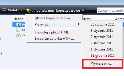 przywracanie kopi zapasowej zakładek Firefox